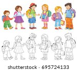 back to school. cute... | Shutterstock . vector #695724133
