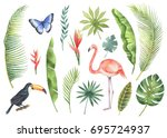 watercolor set tropical leaves... | Shutterstock . vector #695724937