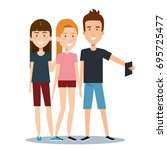 group of different young using...   Shutterstock .eps vector #695725477