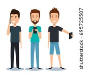 group of different young using... | Shutterstock .eps vector #695725507