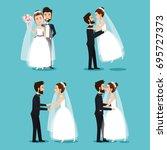 bride and groom set wedding... | Shutterstock .eps vector #695727373