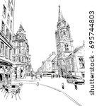 edinburgh. scotland. hand drawn ...   Shutterstock .eps vector #695744803