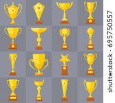winner trophy gold cups flat... | Shutterstock .eps vector #695750557