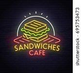 sandwich neon sign  bright...   Shutterstock .eps vector #695753473