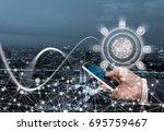 business man using mobile smart ...   Shutterstock . vector #695759467