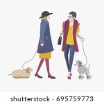 young girls walking with dogs ... | Shutterstock .eps vector #695759773