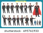 set of businessman presenting... | Shutterstock .eps vector #695761933