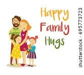 vector happy family hugs... | Shutterstock .eps vector #695773723