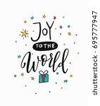 joy to the world merry...   Shutterstock .eps vector #695777947