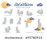 Stock vector set of happy rabbit illustration for mid autumn festival collection funny flat bunny and moon 695780923