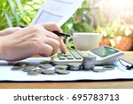 hand touch calculate on... | Shutterstock . vector #695783713