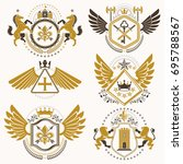 collection of vector heraldic... | Shutterstock .eps vector #695788567