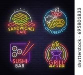 set neon sign theme food and... | Shutterstock .eps vector #695801833