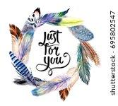 watercolor bird feather wreath... | Shutterstock . vector #695802547