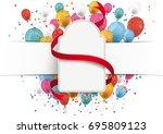 white paper banner  emblem  red ... | Shutterstock .eps vector #695809123