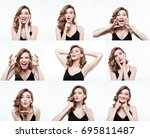 different emotions collage. set ... | Shutterstock . vector #695811487
