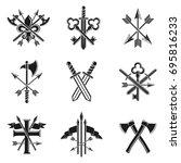 vintage weapon emblems set.... | Shutterstock .eps vector #695816233