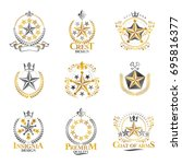 stars emblems set. heraldic... | Shutterstock .eps vector #695816377