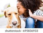 african american girl outdoors... | Shutterstock . vector #695836933