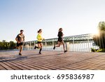 young athtletes in the city... | Shutterstock . vector #695836987