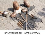 medieval knight's armor ... | Shutterstock . vector #695839927