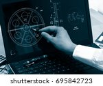 engineer working on computer on ... | Shutterstock . vector #695842723