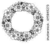 hand drawn vector floral wreath. | Shutterstock .eps vector #695845273
