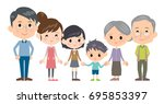 family three generations side... | Shutterstock .eps vector #695853397