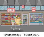 supermarket store interior with ... | Shutterstock .eps vector #695856073