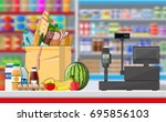 supermarket store interior with ... | Shutterstock .eps vector #695856103