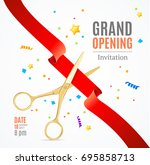 grand opening invitation card... | Shutterstock . vector #695858713