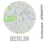 minimalistic berlin city map... | Shutterstock .eps vector #695858797