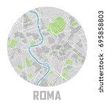 minimalistic roma city map icon. | Shutterstock .eps vector #695858803