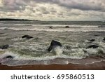 the baltic sea in a storm | Shutterstock . vector #695860513