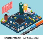 colored technology... | Shutterstock .eps vector #695863303
