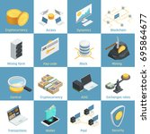 isometric icons with equipment... | Shutterstock .eps vector #695864677