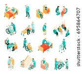 isometric set of elderly people ... | Shutterstock .eps vector #695864707