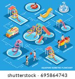 colored water park aquapark... | Shutterstock .eps vector #695864743