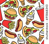 fast food. burger  hot dog ... | Shutterstock .eps vector #695868343