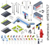 set of city street isometric... | Shutterstock .eps vector #695875717