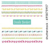 hand drawn set of doodle border ... | Shutterstock .eps vector #695875957