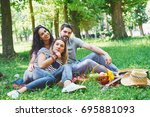 happy friends having fun... | Shutterstock . vector #695881093