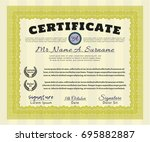 yellow certificate or diploma... | Shutterstock .eps vector #695882887