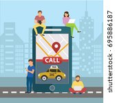 booking taxi online concept... | Shutterstock .eps vector #695886187