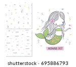 mermaids exist. surface design... | Shutterstock .eps vector #695886793