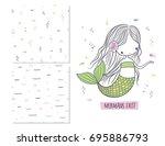 mermaids exist. surface design...   Shutterstock .eps vector #695886793