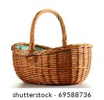 empty wicker basket isolated on ... | Shutterstock . vector #69588736
