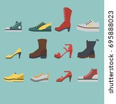 set of flat style shoes colored ... | Shutterstock .eps vector #695888023