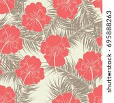 seamless tropical pattern with... | Shutterstock .eps vector #695888263