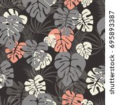 seamless pattern with monstera... | Shutterstock .eps vector #695893387